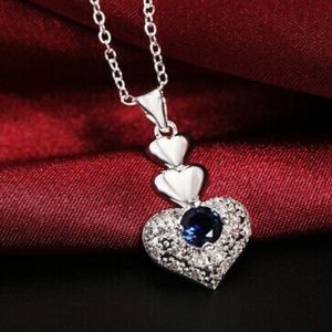 925 sterling silver chain Heart crystal necklace